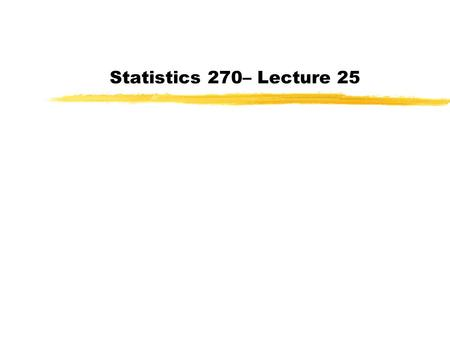 Statistics 270– Lecture 25. Cautions about Z-Tests Data must be a random sample Outliers can distort results Shape of the population distribution matters.