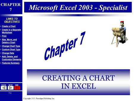 Copyright 2003, Paradigm Publishing Inc. CHAPTER 7 BACKNEXTEND 7-1 LINKS TO OBJECTIVES Create a Chart Create in a Separate Worksheet Create in a Separate.