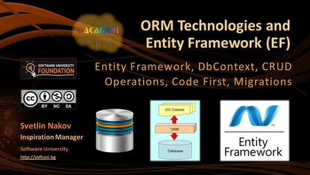 ORM Technologies and Entity Framework (EF)