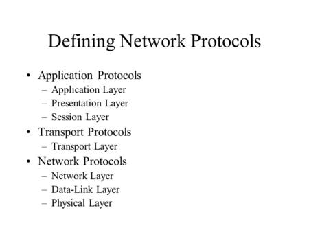 Defining Network Protocols Application Protocols –Application Layer –Presentation Layer –Session Layer Transport Protocols –Transport Layer Network Protocols.