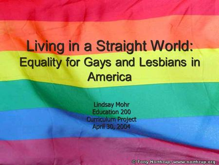 Living in a Straight World: Equality for Gays and Lesbians in America Lindsay Mohr Education 200 Curriculum Project April 30, 2004.