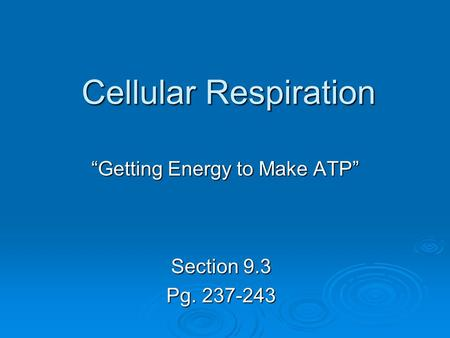 """Getting Energy to Make ATP"""