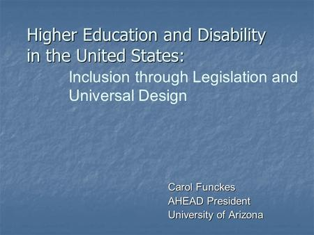 Higher Education and Disability in the United States: