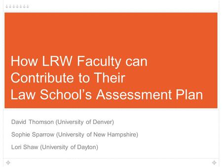 1 How LRW Faculty can Contribute to Their Law School's Assessment Plan David Thomson (University of Denver) Sophie Sparrow (University of New Hampshire)