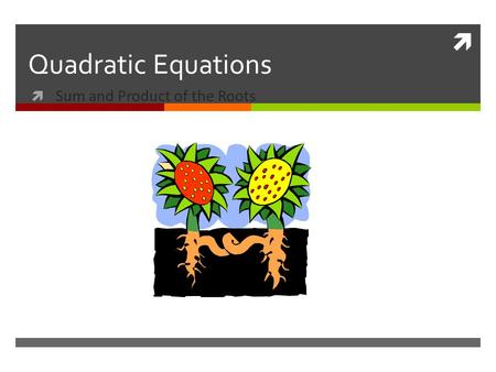 Quadratic Equations Sum and Product of the Roots.