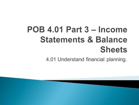 4.01 Understand financial planning..  Assets: what the company owns  Liabilities: what the company owes  Owner's Equity: value of owner's investment.
