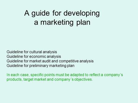 A guide for developing a marketing plan Guideline for cultural analysis Guideline for economic analysis Guideline for market audit and competitive analysis.