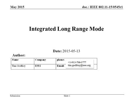 Doc.: IEEE 802.11-15/0545r1 Submission May 2015 Integrated Long Range Mode Date: 2015-05-13 Slide 1 Author: