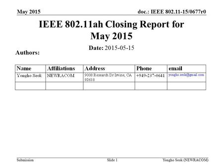 Doc.: IEEE 802.11-15/0677r0 Submission May 2015 Slide 1 IEEE 802.11ah Closing Report for May 2015 Date: 2015-05-15 Authors: Yongho Seok (NEWRACOM)