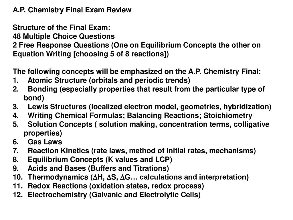 A P Chemistry Final Exam Review Ppt Download