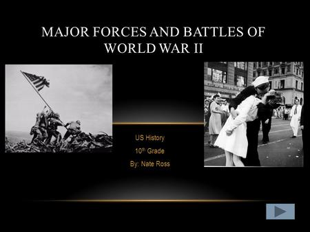 US History 10 th Grade By: Nate Ross MAJOR FORCES AND BATTLES OF WORLD WAR II.