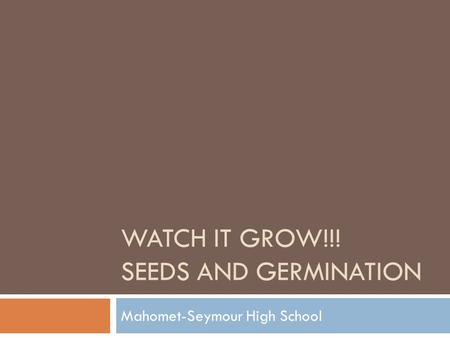 Watch it Grow!!! Seeds and germination
