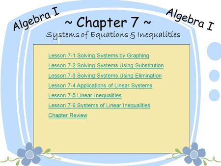 Systems of Equations & Inequalities