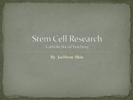 By JaeHeon Shin. Stem Cell - Stem cells are mother cells that have the potential to become any type of cell in the body. One of the main characteristics.