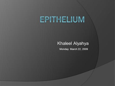 Epithelium Khaleel Alyahya Monday March 22, 2009.