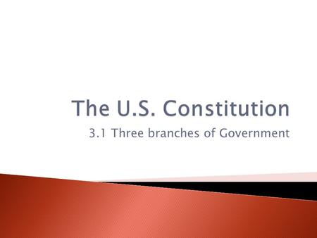 3.1 Three branches of Government