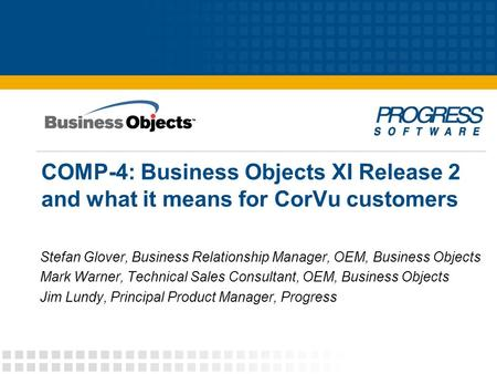 Stefan Glover, Business Relationship Manager, OEM, Business Objects
