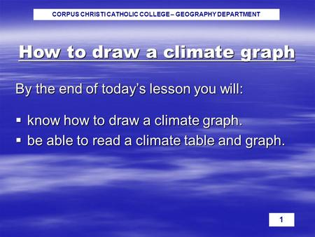 CORPUS CHRISTI CATHOLIC COLLEGE – GEOGRAPHY DEPARTMENT 1 How to draw a climate graph By the end of today's lesson you will:  know how to draw a climate.