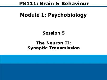 1 Session 5 The Neuron II: Synaptic Transmission PS111: Brain & Behaviour Module 1: Psychobiology.