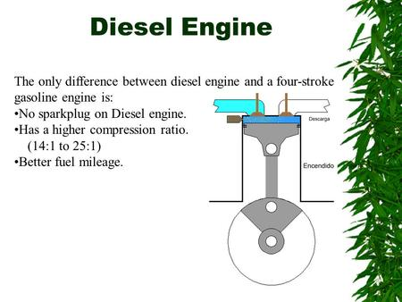 Diesel Engine The only difference between diesel engine and a four-stroke gasoline engine is: No sparkplug on Diesel engine. Has a higher compression ratio.
