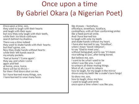 critical analysis of poems by gabriel okara