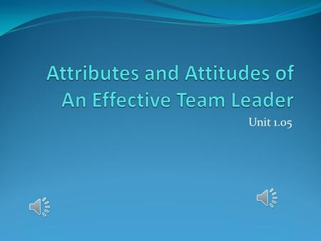 Unit 1.05 Leadership The action of leading a group of people or an organization.