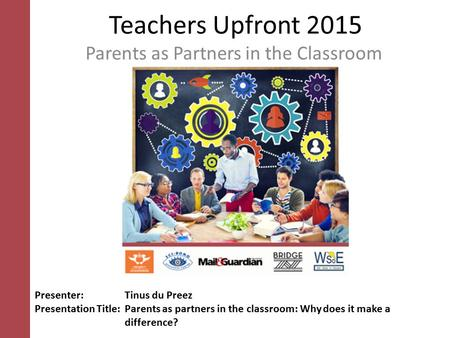 Parents as Partners in the Classroom