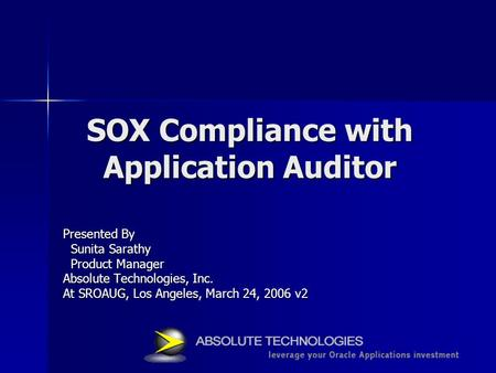 SOX Compliance with Application Auditor