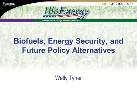 Biofuels, Energy Security, and Future Policy Alternatives Wally Tyner.