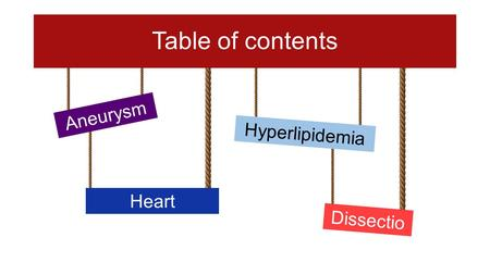 Table of contents Aneurysm Dissectio n Heart Arrhytmia Hyperlipidemia.