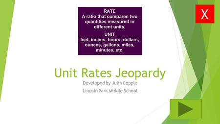 Unit Rates Jeopardy Developed by Julia Copple Lincoln Park Middle School X.