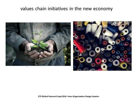 Values chain initiatives in the new economy STS Global Network Sept 2014 Inter-Organization Design Session.