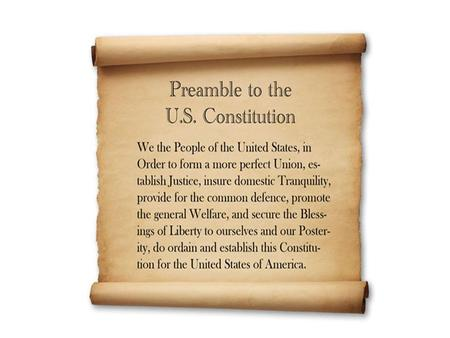 "Preamble Goals GOALMEANING In order to form a more perfect union"" Create a nation in which states work together. Establish justice Setting up a court."