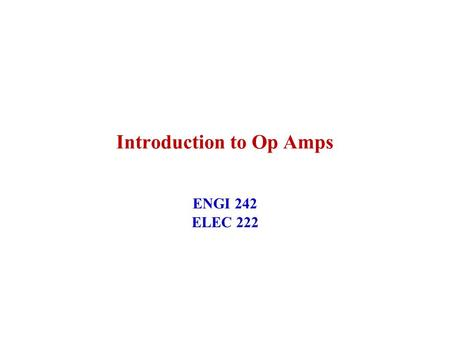 Introduction to Op Amps