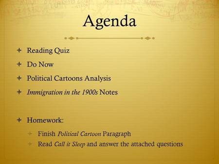 Agenda Reading Quiz Do Now Political Cartoons Analysis