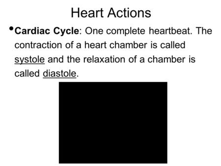 Heart Actions Cardiac Cycle: One complete heartbeat. The contraction of a heart chamber is called systole and the relaxation of a chamber is called diastole.