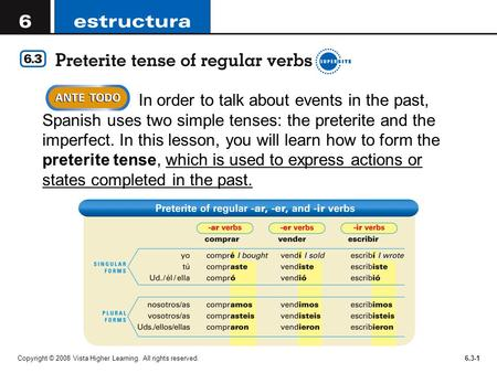 In order to talk about events in the past, Spanish uses two simple tenses: the preterite and the imperfect. In this lesson, you will learn how to form.