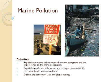 Marine Pollution Objectives: 1. Explain how marine debris enters the ocean ecosystem and the impact it has on the marine ecosystem 2. Explain how oil enters.