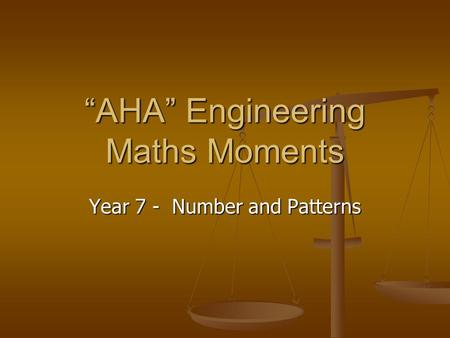 """AHA"" Engineering Maths Moments Year 7 - Number and Patterns."