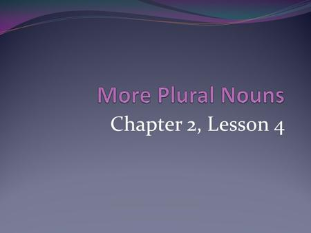 More Plural Nouns Chapter 2, Lesson 4.