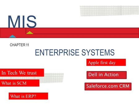 ENTERPRISE SYSTEMS CHAPTER 11 Hossein BIDGOLI MIS In Tech We trust What is SCM Dell in Action Saleforce.com CRM What is ERP? Apple first day.