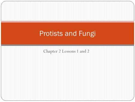 Protists and Fungi Chapter 2 Lessons 1 and 2.