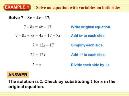 Solve an equation with variables on both sides