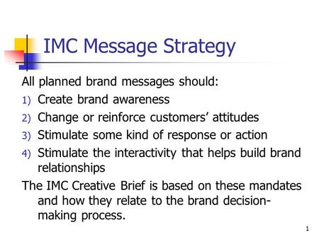 IMC Message Strategy All planned brand messages should: