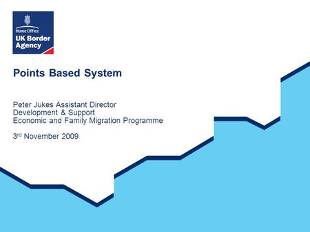 Points Based System Peter Jukes Assistant Director Development & Support Economic and Family Migration Programme 3 rd November 2009.