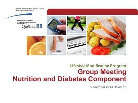 Group Meeting Nutrition and Diabetes Component December 2014 Revision Lifestyle Modification Program.