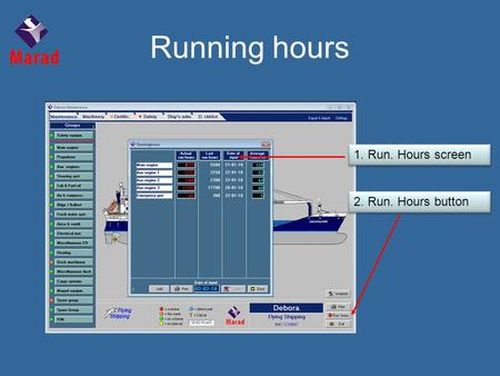 2. Run. Hours button 1. Run. Hours screen Running hours.