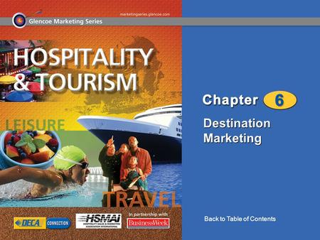 Destination Marketing Back to Table of Contents. Destination Marketing 2 Chapter 6 Destination Marketing Destination Markets Basics of Destination Marketing.