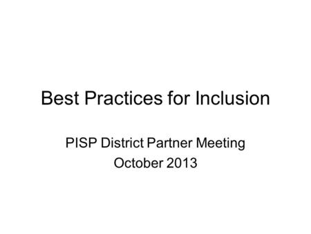 Best Practices for Inclusion
