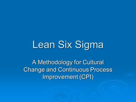 Lean Six Sigma A Methodology for Cultural Change and Continuous Process Improvement (CPI)